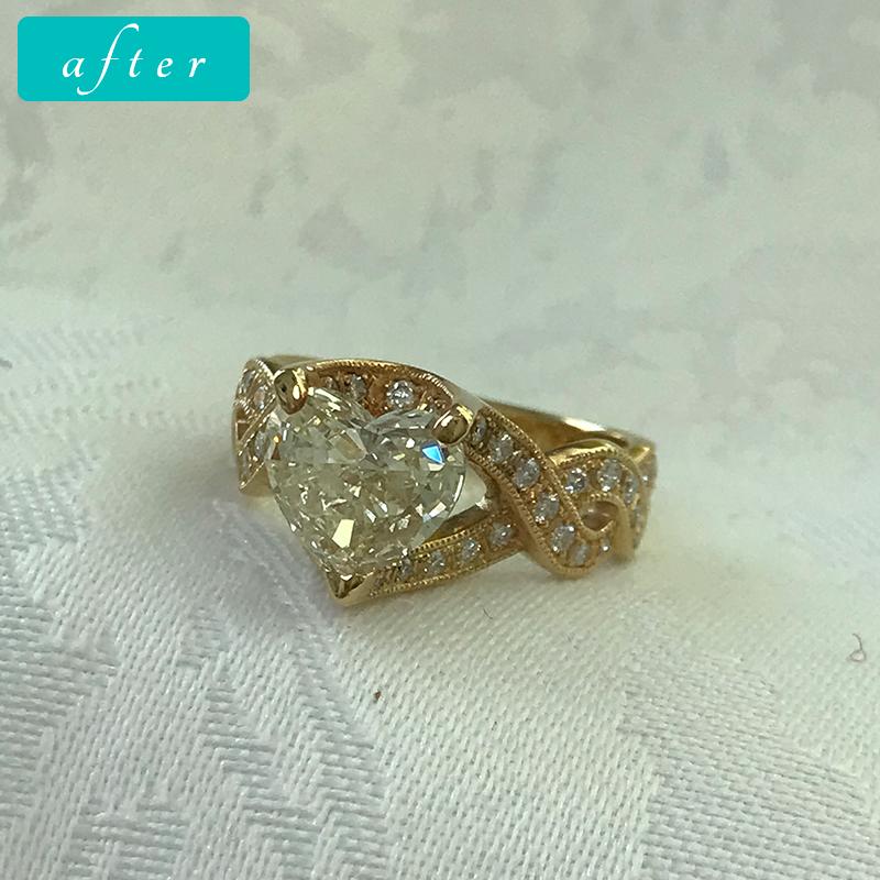 K18 ハートカットダイヤモンド1.7ct リング-ゴールドきりりゴージャス