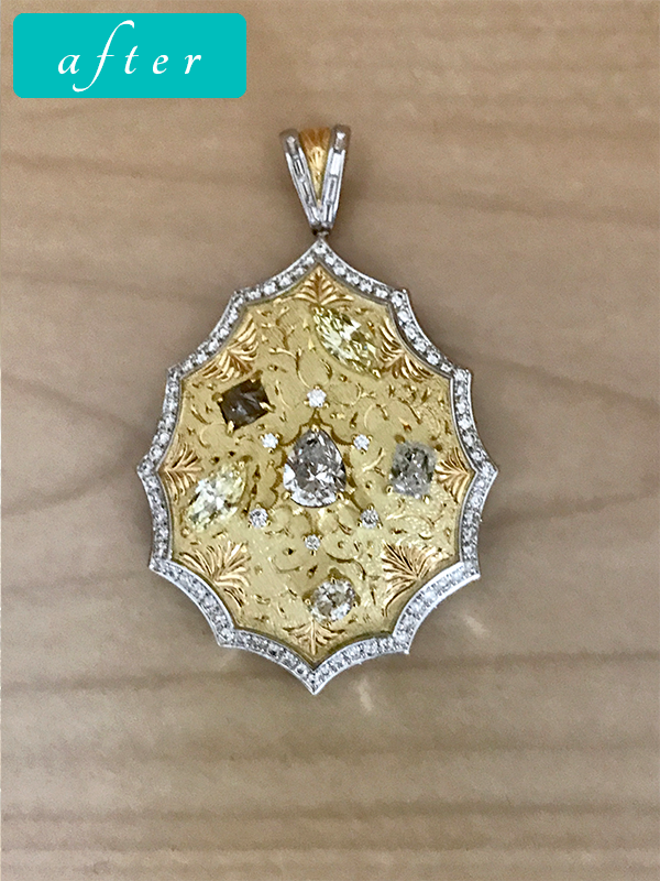 Pt/K18 ダイヤモンド ペンダント-ゴールドきりりワイルド